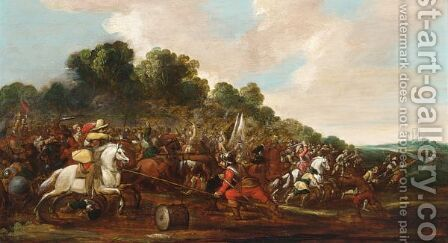 A Cavalry Battle Scene by (after) Sebastian Vrancx - Reproduction Oil Painting