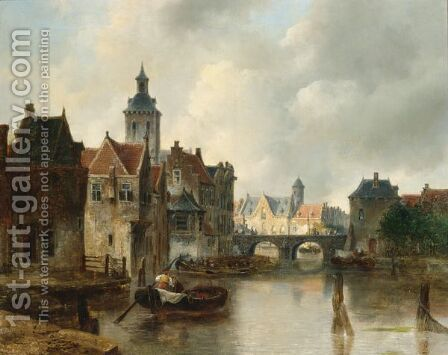 View Of A Canal In A Dutch Town by Antonie Waldorp - Reproduction Oil Painting