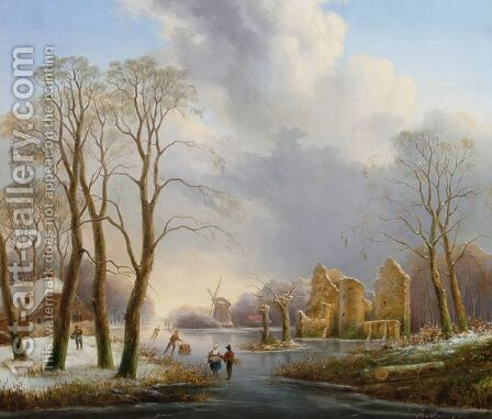 A Dutch Winter Landscape With Figures On A Frozen River by Hendrik Altmann - Reproduction Oil Painting