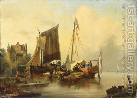 A Moored Boat With An Elegant Company by Dutch School - Reproduction Oil Painting