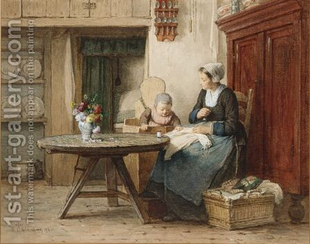 A Cottage Interior With Mother And Child Doing Needlework by Hendrik Valkenburg - Reproduction Oil Painting