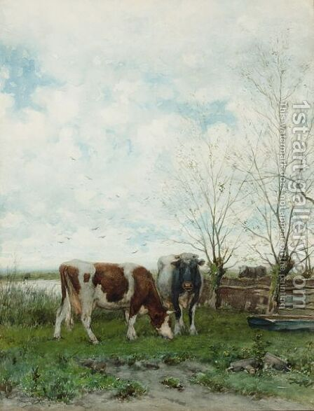 Cows At Pasture by Jan Vrolijk - Reproduction Oil Painting