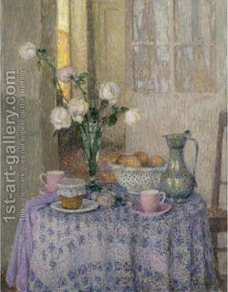 Table Dans L'Interieur by Henri Eugene Augustin Le Sidaner - Reproduction Oil Painting