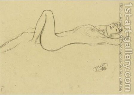 Lying Female Nude With Positioned Left Leg by Gustav Klimt - Reproduction Oil Painting