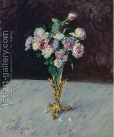 Bouquet De Roses Dans Un Vase De Cristal by Gustave Caillebotte - Reproduction Oil Painting