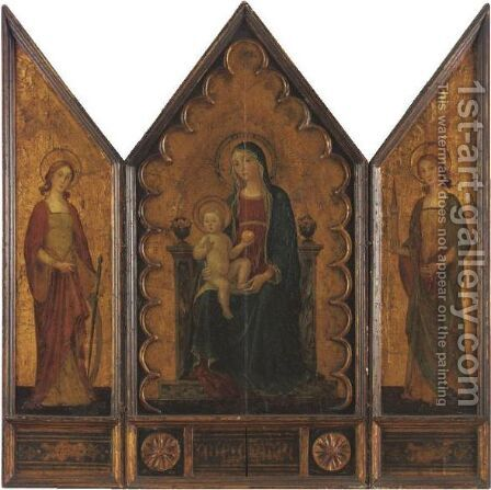 Madonna And Child With St. Catherine And St. Barbara by (after) Antoniazzo Romano - Reproduction Oil Painting