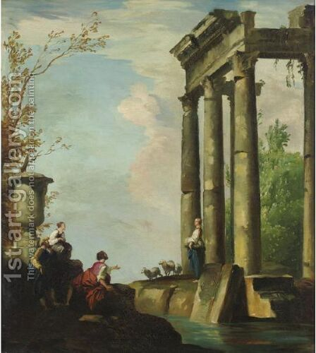 Capriccio With Three Figures by Constantino Brumidi - Reproduction Oil Painting