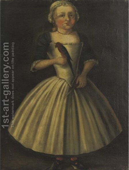 Girl With Parrot by Dutch School - Reproduction Oil Painting