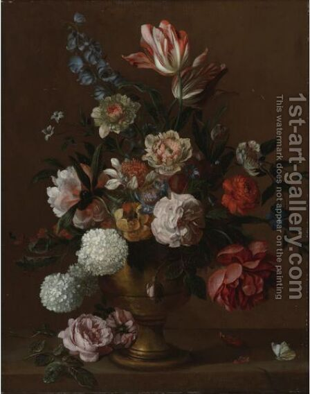 Still Life Of Flowers In A Vase by (after) Jacob Bogdani - Reproduction Oil Painting