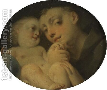 The Infant Christ With Saint Anthony Of Padua by Giovanni Battista Tagliasacchi - Reproduction Oil Painting