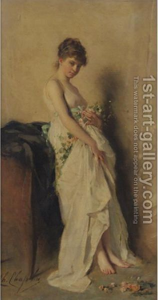 Girl With Garland Of Flowers by Charles Chaplin - Reproduction Oil Painting