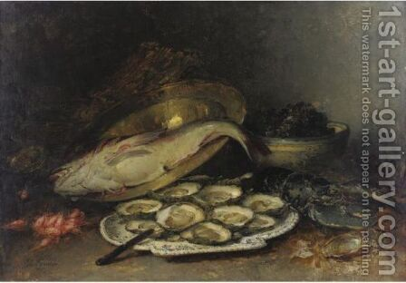 Still Life With Oysters, Salmon And Shrimp by Guillaume-Romain Fouace - Reproduction Oil Painting