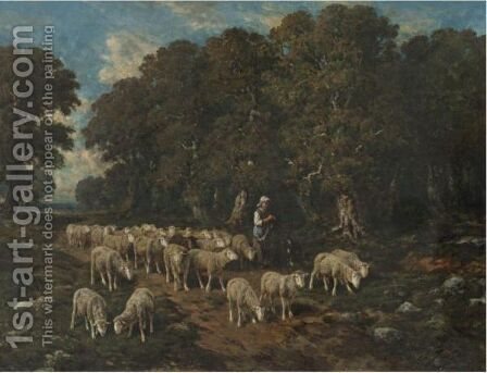 A Shepherdess With Her Flock 4 by Charles Émile Jacque - Reproduction Oil Painting