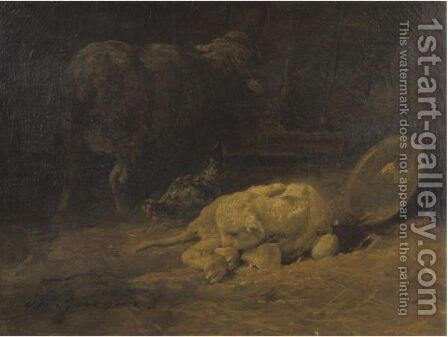 A Calf by Charles Émile Jacque - Reproduction Oil Painting