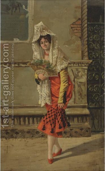A Spanish Beauty by A. Agniles - Reproduction Oil Painting
