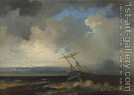 Ship In Stormy Sea by (after) Johannes Christian Schotel - Reproduction Oil Painting