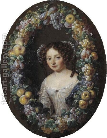 Portrait Of A Lady, Half Length, Framed By A Wreath Of Grapes, Apples And Plums by Jacob Ferdinand Voet - Reproduction Oil Painting