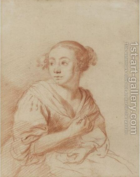 Half-Length Study Of A Seated Young Girl, Turning Her Head To The Left by Dutch School - Reproduction Oil Painting