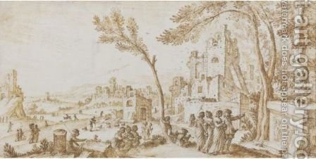 An Extensive Landscape With Figures Examining An Urn Among Ruins by Carlo Giorgio Quadro - Reproduction Oil Painting
