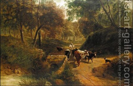 A Drover With Cattle And A Dog by (after) Thomas Creswick - Reproduction Oil Painting