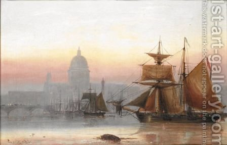 Shipping Near St Paul'S by Charles John de Lacy - Reproduction Oil Painting