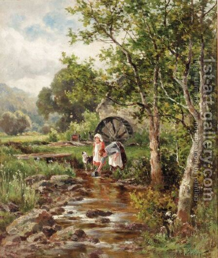 The Old Mill At Betws-Y-Coed by Henry Hillier Parker - Reproduction Oil Painting