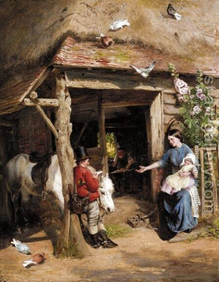 The Letter by Charles James Lewis - Reproduction Oil Painting