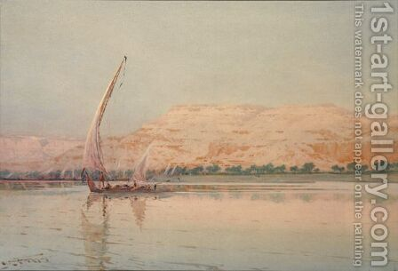 A Felucca On The Nile by Augustus Osborne Lamplough - Reproduction Oil Painting