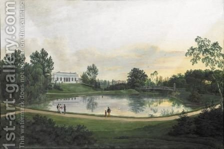 View Of A Country House by Continental School - Reproduction Oil Painting
