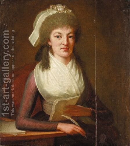 Portrait Of A Lady Writing A Letter by Dominique (Guillaume Dominique Jacques) Doncre - Reproduction Oil Painting