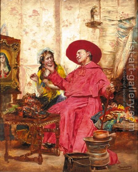 The Cardinal Entertainsi by (after) Francois Brunery - Reproduction Oil Painting