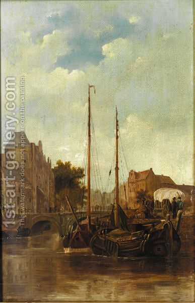 A Dutch Harbour by Cornelis Petrus T' Hoen - Reproduction Oil Painting