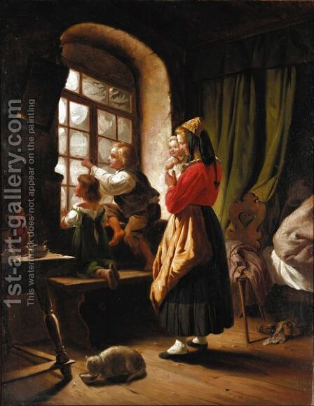 The First Snow by Carl Wilhelm Hübner - Reproduction Oil Painting