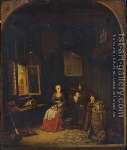 Interior Of A Kitchen With A Seated Woman Peeling Onions, A Child Hiding Behind Her by Jacob van Spreeuwen - Reproduction Oil Painting