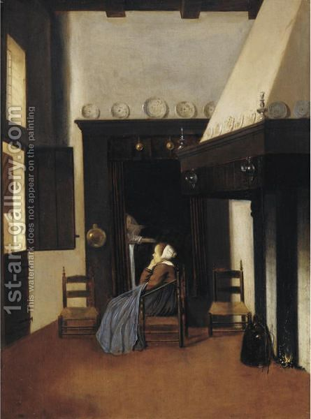 A Young Woman In An Interior, Keeping Watch Over An Invalid The Little Nurse by Jacobus Vrel - Reproduction Oil Painting
