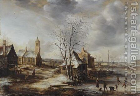 A Winter Landscape, Possibly Amerongen, With Skaters On A Frozen River And Figures Entering A Church To The Left by Jan Abrahamsz. Beerstraten - Reproduction Oil Painting