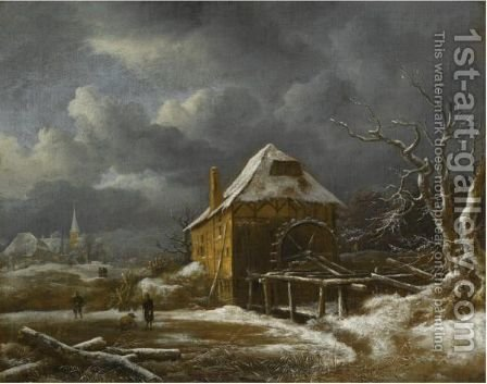 A Winter Landscape With A Watermill by Jacob Van Ruisdael - Reproduction Oil Painting