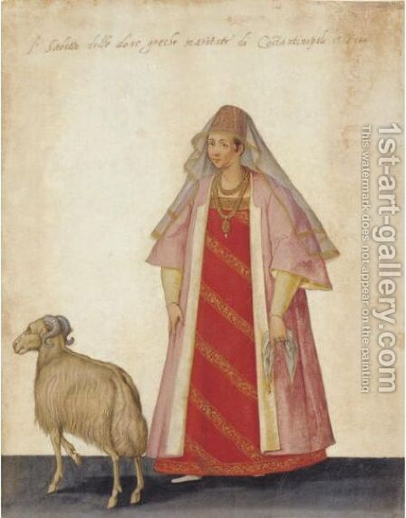A Married Greek Woman With A Ram by Jacopo Ligozzi - Reproduction Oil Painting