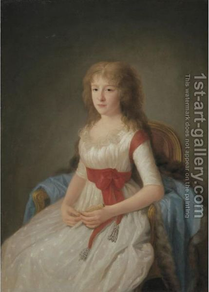 Portrait Of A Young Woman In A White Dress by Agustin Esteve Y Marques - Reproduction Oil Painting