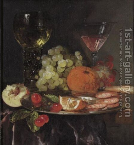 Still Life With Wine Glasses by Abraham Hendrickz Van Beyeren - Reproduction Oil Painting