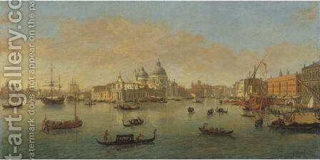 Venice, A View Of The Bacino Di San Marco Looking West, With The Punta Della Dogana And The Church Of Santa Maria Della Salute by Caspar Andriaans Van Wittel - Reproduction Oil Painting