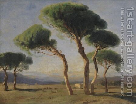 Study Of Umbrella Pines by Alexandre Calame - Reproduction Oil Painting