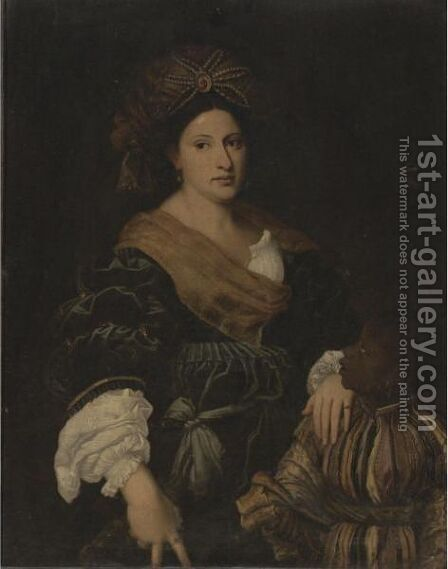 Portrait Of Laura Dei Dianti by (after) Tiziano Vecellio (Titian) - Reproduction Oil Painting