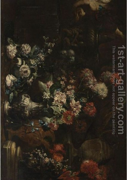 Elaborate Still Life Of Flowers In A Landscape by Andrea Belvedere - Reproduction Oil Painting