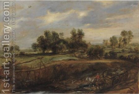 Landscape With A Wagon by (after) Sir Peter Paul Rubens - Reproduction Oil Painting