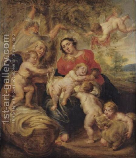 Holy Family With Saint Elizabeth And Saint John by (after) Sir Peter Paul Rubens - Reproduction Oil Painting