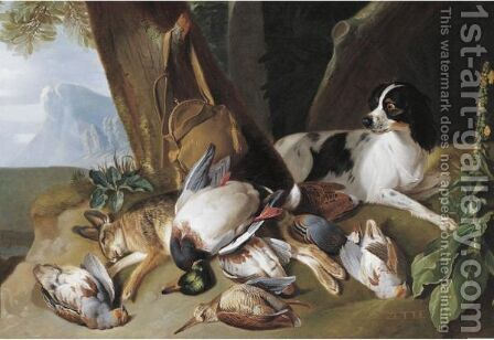 Hunting Still Life With Game Birds And Zette, The Hound by Claude Francois Desportes - Reproduction Oil Painting
