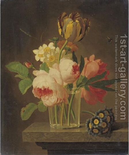 Still Life Of Flowers by Jean-Baptiste Berre - Reproduction Oil Painting