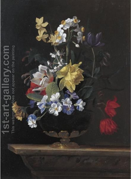 A Still Life Of Flowers In A Ormulu Mounted Lapis Lazuli Vase On A Stone Ledge by (after) Jean Picart - Reproduction Oil Painting