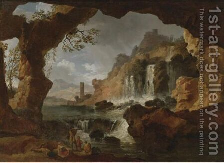 View Of The Falls Of Tivoli by Claude-joseph Vernet - Reproduction Oil Painting